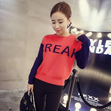 TE8250BLFS New style color matching letters pullover knitting tops
