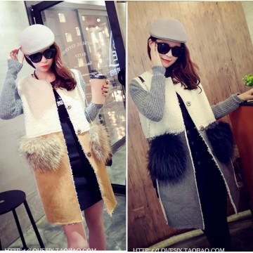 TE8252BLFS Winter fashion knitting sleeve splicing berber fleece coat