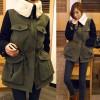 TE8279BLFS Korean style wool lapel pocket splicing sleeve cotton-padded coat