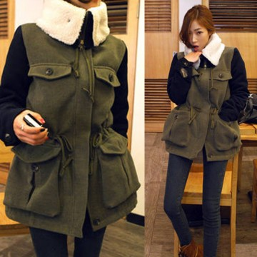 TE8279BLFS Korean style wool lapel pocket splicing sleeve cotton-padded coat