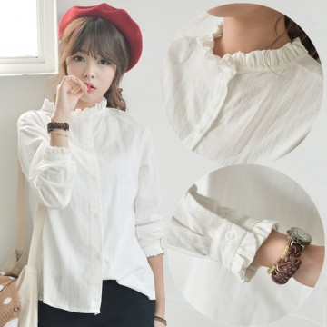 TE8305TTFS Preppy style fresh agaric lace stand collar ramie shirt