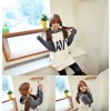 TE8318HPG Loose letters print color matching pocket hoodie