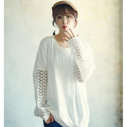 TE8377XYZ Loose pure color casual lace splicing sleeve t-shirt