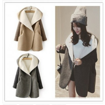 TE5837NHWL Japanese fashion lamb wool knitting sleeve coat