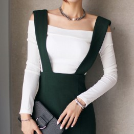 TE8805MQFS Slim boat neck off shoulder long sleeve t-shirt