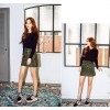 TE8807MQFS Autumn suede buttons a-line short skirt