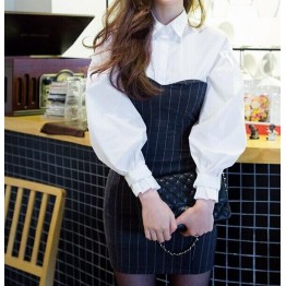 TE8813MQFS Korean fashion lapel puff sleeve shirt with stripes tube top dress