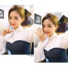 TE8813MQFS Korean fashion lapel puff sleeve shirt with stripes tube top dress