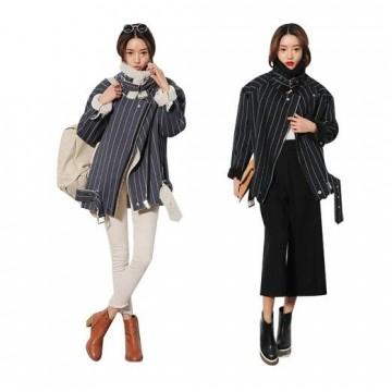TE8838HYG Korean fashion vertical stripes stand collar lamb wool motorcycle jacket