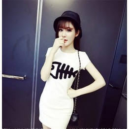 TE8943JYFS Embroidery fish skull cotton dress