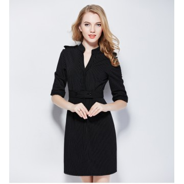 TE9085LLYG Europe fashion stripes v-neck half sleeve dress