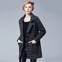 TE9088LLYG Houndstooth three buttons pocket woolen coat