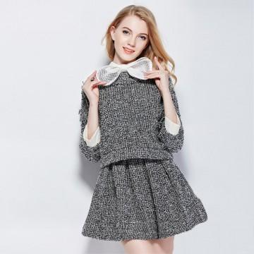 TE9089LLYG Elegant temperament doll collar tops with short skirt