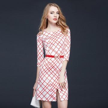 TE9091LLYG Europe fashion irregular rhombus print slim dress
