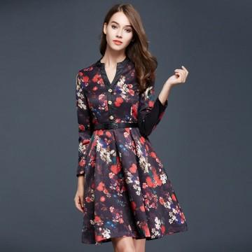 TE9093LLYG Vintage print jacquard weave v-neck long sleeve dress
