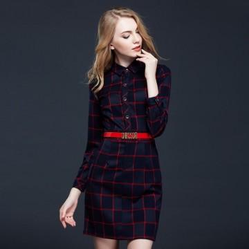 TE9094LLYG Europe fashion POLO collar checks temperament dress