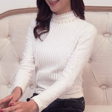 TE916TSBL Turtleneck lace sleeve thicken backing shirt