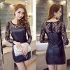 TE9189WMSS Sexy beads lace splicing pu leather tight hip dress