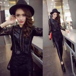 TE9198WMSS Trendy rivet transparent lace sleeve PU splicing tassel dress