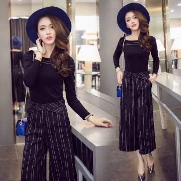 TE9199WMSS Europe fashion long sleeve t-shirt with wide leg stripes pants