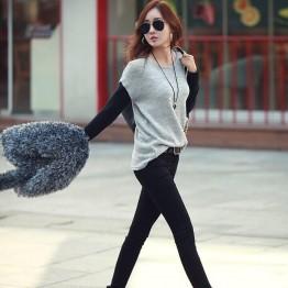 TE9318ATSS Korean fashion fake two piece casual tops