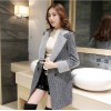 TE9559YBF Winter double-breasted check lapel woolen coat