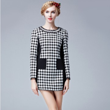 TE9632LLYG Europe fashion slim houndstooth contract color dress