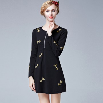 TE9633LLYG Europe fashion debutant embroidery arrows zipper dress