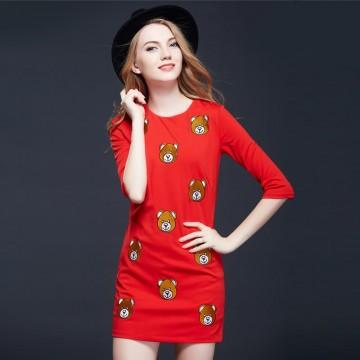 TE9635LLYG Europe fashion embroidery bear A-line dress