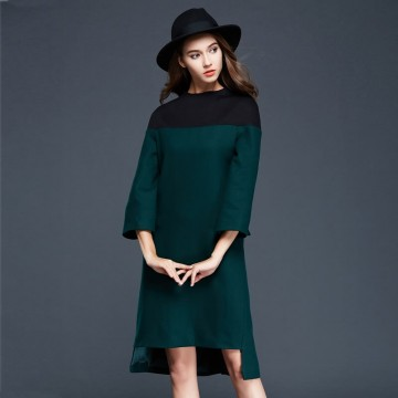 TE9638LLYG Europe fashion color matching stand collar woolen dress