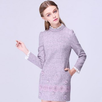 TE9639LLYG Winter fashion lace collar embroidery long sleeve dress
