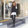TE9700WJYS Fake two piece color matching comfortable loose tops