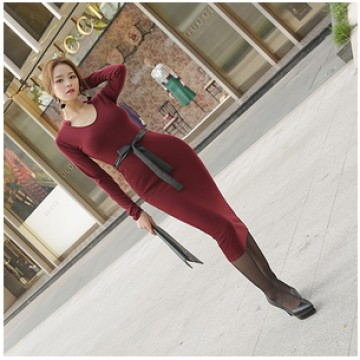TE9963WJYS Korean style temperament long dress
