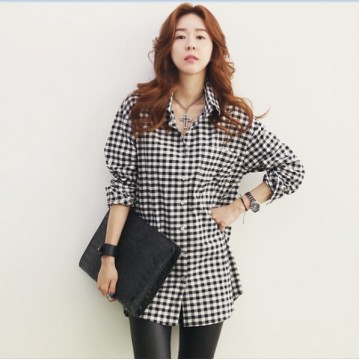 TE9725WJYS Casual joker checks long sleeve blouse