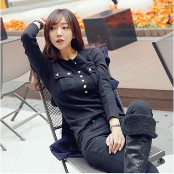 TE9960WJYS Korean fashion buttons slim waist t-shirt