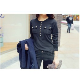 TE9960WJYS Korean fashion buttons slim waist t-shirt