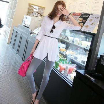 TE9749WJYS Korean fashion lapel long white shirt