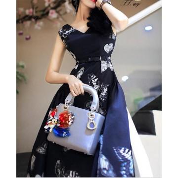 TE9182ZFFS Butterfly print high quality dress with belt