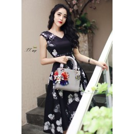 TE9182ZFFS Butterfly print high quality dress with belt