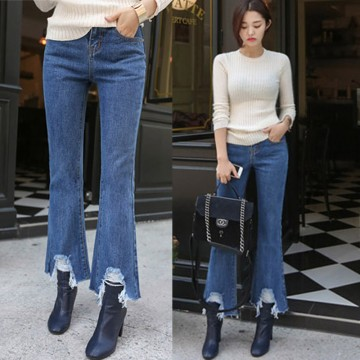 TE0049KOKO Korean style raw edge bell-bottom jeans