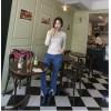 TE0049KOKO Korean style raw edge bell-bottom jeans