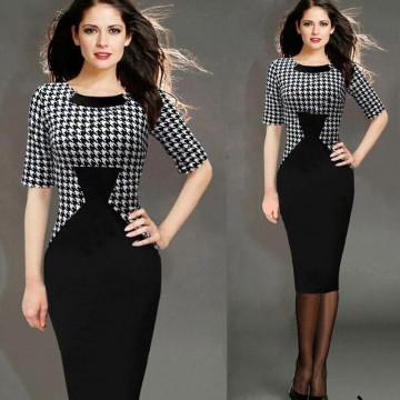 TE0414YLYB Europe fashion hot sale splicing fake two piece dress