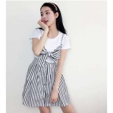 TE0835JLY Korean preppy style joker white t-shirt with vest and stripes skirt