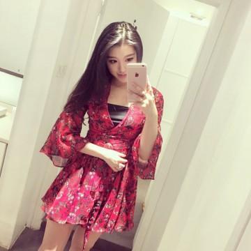TE1022XWFS V neck slim trumpet sleeve chiffon dress