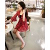 TE1022XWFS V neck slim trumpet sleeve chiffon dress