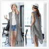 TE1455GJWL Classic fashion casual loose checks long sleeveless shirt