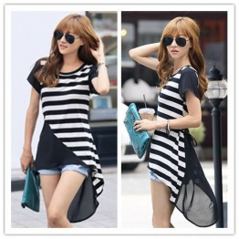 TE1237GJWL Casual belt loose stripes splicing irregular t-shirt