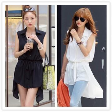 TE1458GJWL Korean fashion lacing waist sleeveless shirt
