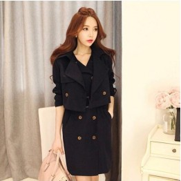 TE9002HBB Korean style double-breasted sleeveless dress with jacket