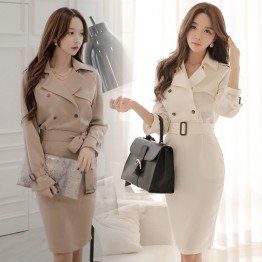 TE1460HYZJ OL temperament double-breasted tight hip dress